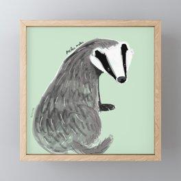 Adorable Badger ( Meles meles ) Framed Mini Art Print