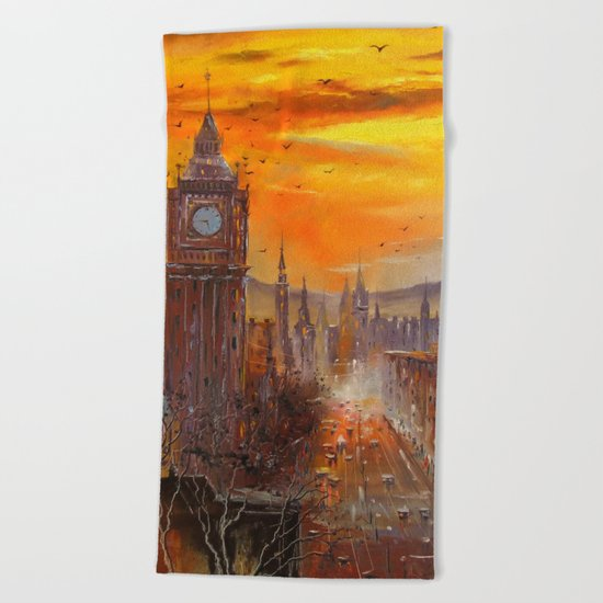 London Evening Beach Towel
