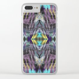 psychedelic geometric symmetry abstract pattern in purple blue yellow Clear iPhone Case