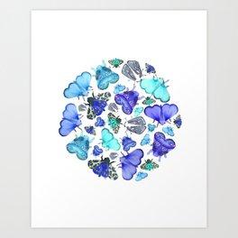 Blue Moths & Butterflies Art Print