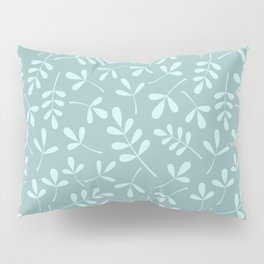 Assorted Leaf Silhouette Pattern Teals Pillow Sham