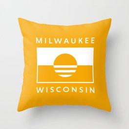 Milwaukee Wisconsin - Gold - People's Flag of Milwaukee Throw Pillow