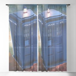 The Police Box Tardis time travel device used Doctor Who Sheer Curtain