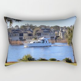 Palm Tree Boat Framed Rectangular Pillow