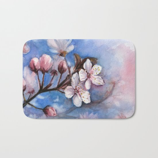 Cherry Blossoms Watercolor Spring Flowers Bath Mat