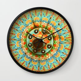 Rainbow Painted Cart Wheel Mandala Wall Clock