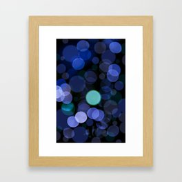 Blue bokeh circles blurry texture Framed Art Print