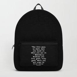 Charles Bukowski Quote Free Soul Black Backpack