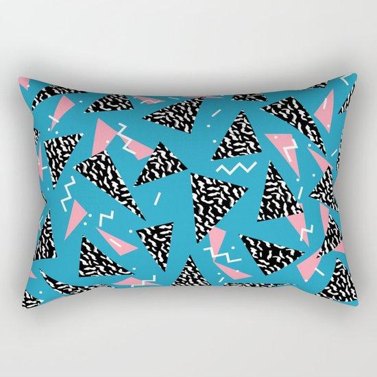 80s Abstract memphis pattern trendy modern pattern print pink black and blue Rectangular Pillow