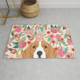 Beagle floral dog breed pet lover dog head with flowers beagles gifts Rug
