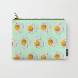 mint green funny food pattern breakfast eggs Carry-All Pouch