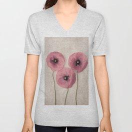 Three Pink Poppies Unisex V-Neck