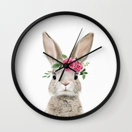 Baby Bunny with Flower Crown Wall Clock