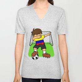 Colombia Soccer Ball Dabbing Kid Colombian Football Goal Unisex V-Neck