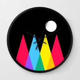 Full Moon on Colorful Forest Wall Clock
