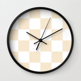 Large Checkered - White and Champagne Orange Wall Clock