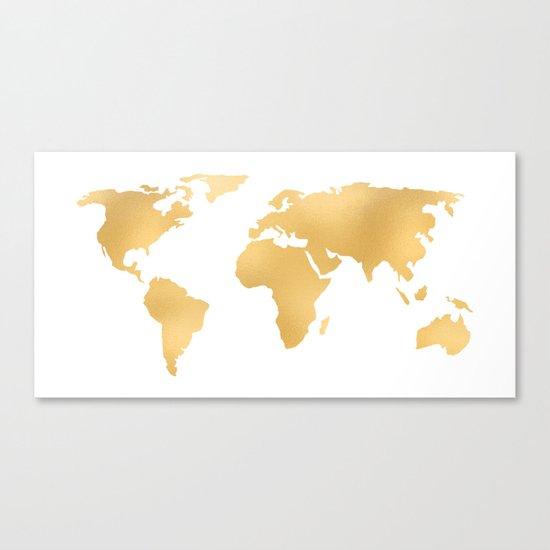 World Map Deep Gold Rush Canvas Print