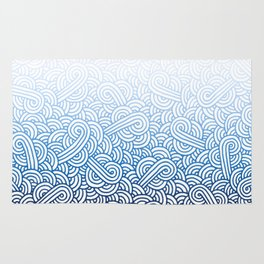 Gradient blue and white swirls doodles Rug