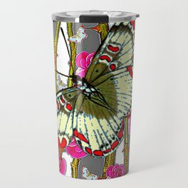 ORIENTAL STYLE BUTTERFLY & PINK ROSES GREY PATTERN DESIGN Travel Mug