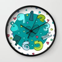 numbers Wall Clocks featuring Numbers by Bea Blanco