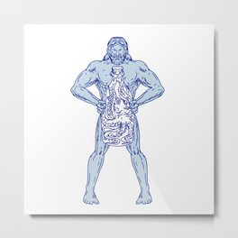 Hercules Holding Bottle With Octopus Inside Drawing Metal Print
