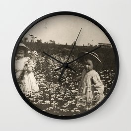 Young Siblings In The Flower Field - Vintage Photo Wall Clock