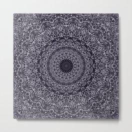 Silver Floral Mandala Metal Print