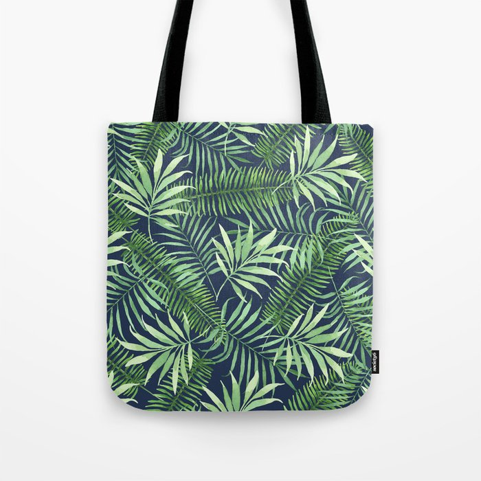 Tropical Branches on Dark Pattern 04 Tote Bag