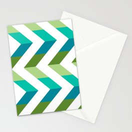 Chevron Picnic Time - Geometric pattern with blue and green Stationery Cards