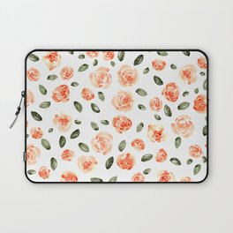 Peach Roses with Olive Leaves // Hand Painted Watercolor Flowers // Peach Roses with Green Leaves Laptop Sleeve