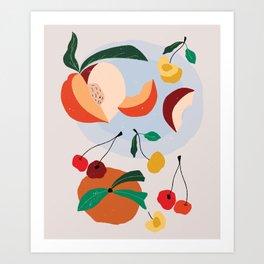 Peaches & Cherries Art Print
