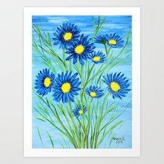 Blue Daisies  Art Print