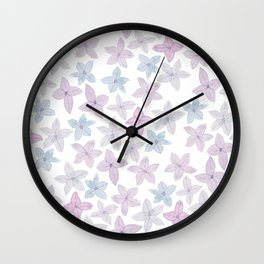 Watercolor hand painted lavender lilac blue floral Wall Clock