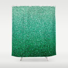Teal Ombre Glitter Shower Curtain