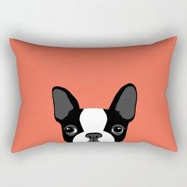 Boston Terrier Peek - Black on Sunset Red Rectangular Pillow