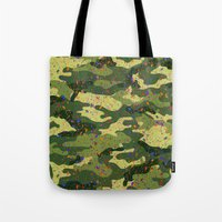 camouflage Tote Bags featuring CAMOUFLAGE by DIVIDUS