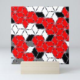red white black grey cubes geometric 3d pattern Mini Art Print