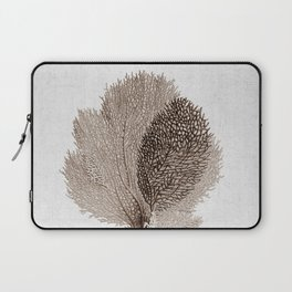Brown Sea Fan Coral Illustration Nautical Decor Laptop Sleeve