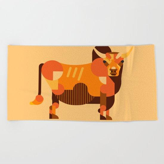 Bull Orange Beach Towel