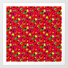 Retro . Colorful red pattern in multi-colored polka dots . 2 Art Print