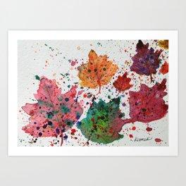 Dancing Leaves Print - Fall Autumn leaves in Maine Art Print