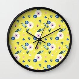 Spring Flowers Pattern Design Wall Clock