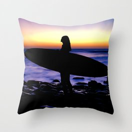 Surfer Silhouette Throw Pillow