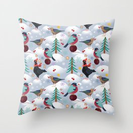 Bullfinches, pigeons in caps and forest birds. Winter, Christmas trees, snow, snowflakes, berries, s Throw Pillow
