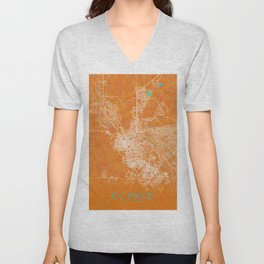 El Paso, TX, USA, Gold, Blue, City, Map Unisex V-Neck
