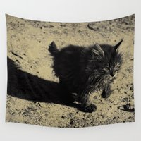 kitty Wall Tapestries featuring kitty by XfantasyArt