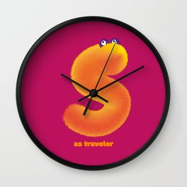 Alphabet monsters : S as traveler Wall Clock