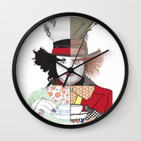 mad hatter Wall Clocks featuring Mad Hatter by Maryamodi