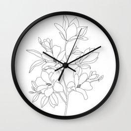Minimal Line Art Magnolia Flowers Wall Clock