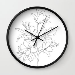 Minimal Line Art Magnolia Flowers Wall Clock
